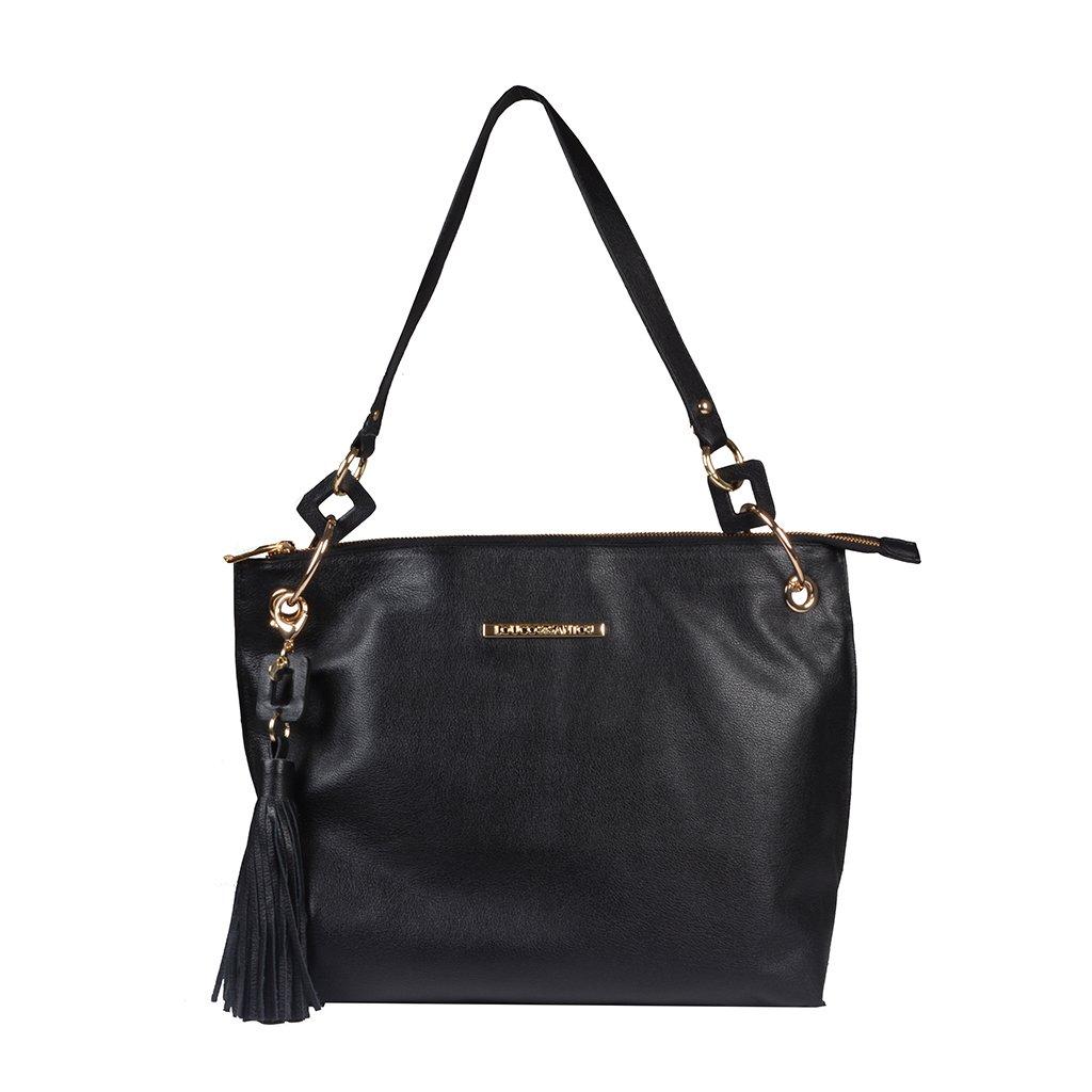 Bolsa de Ombro Couro Preto com Bag Charm I20