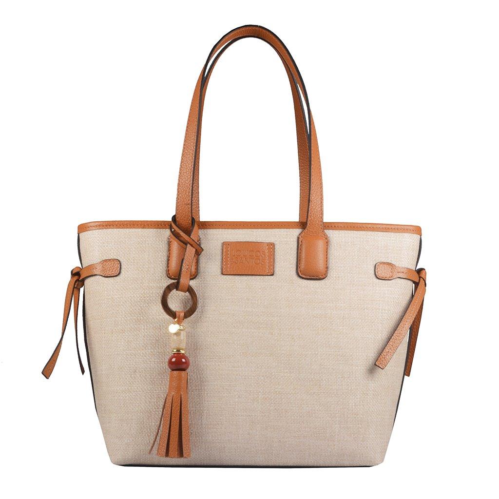 Bolsa Shopping Bicolor Pecan/Ráfia V22