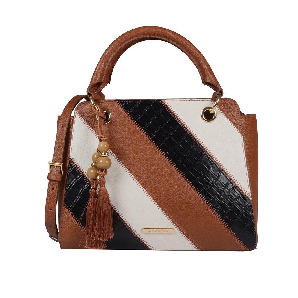 Bolsa Estruturada Couro Âmbar com Bag Charm V20