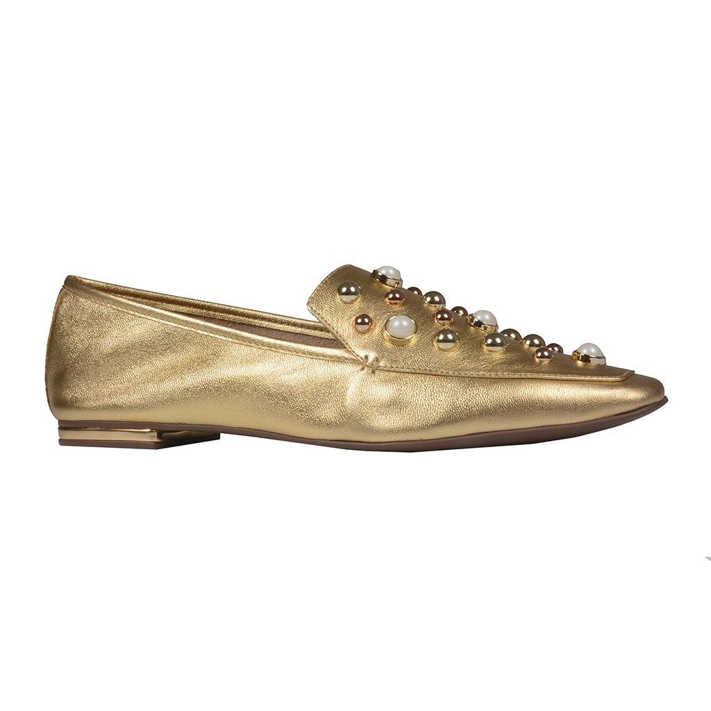 Loafer Dourado Bico Quadrado Com Pérolas I21