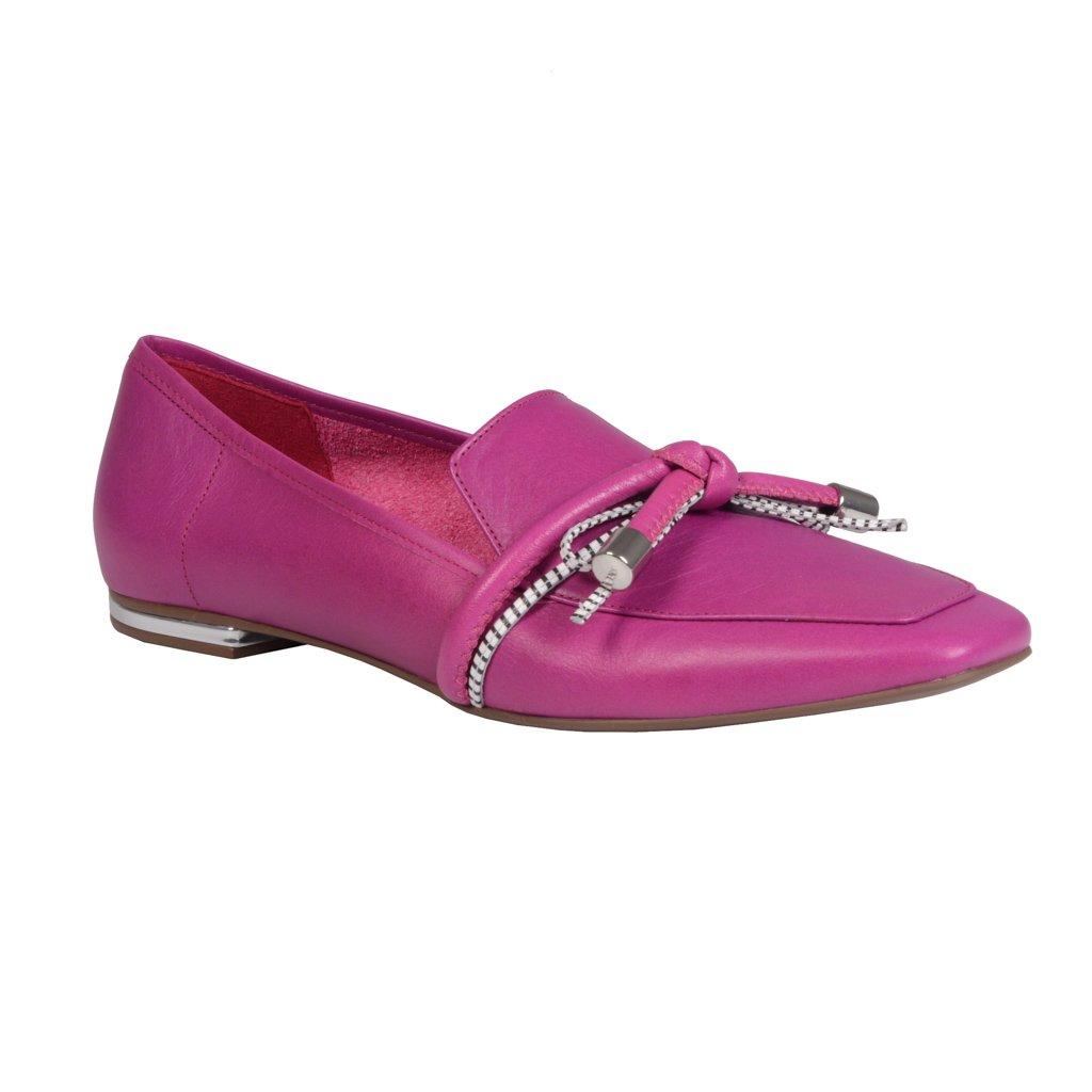 Loafer Couro Rosa Com Laço I21