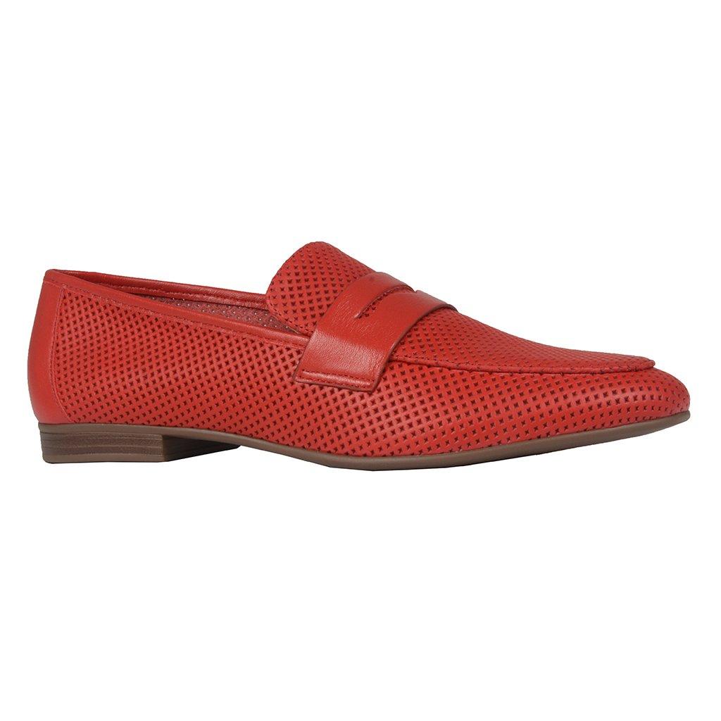 Loafer Couro Vazado Red I21