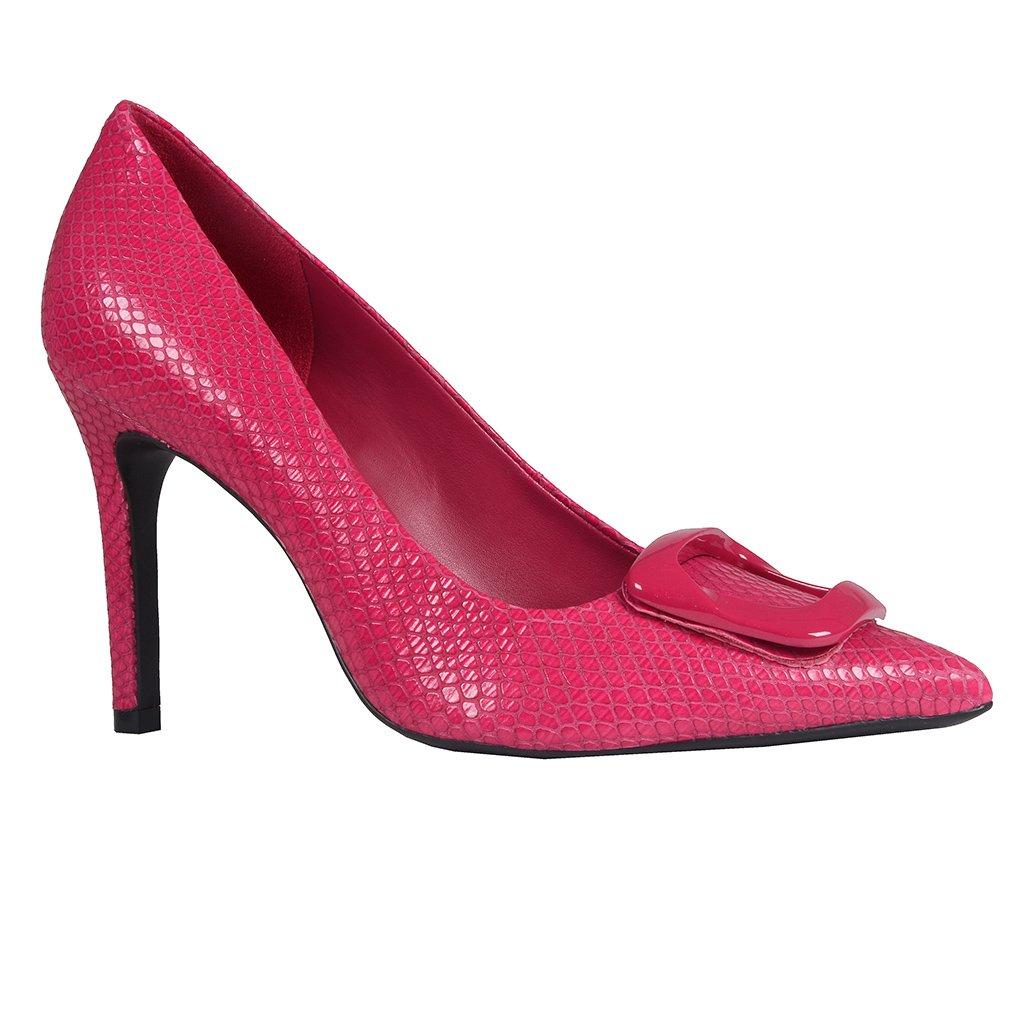 Scarpin Couro Snake Pink I20