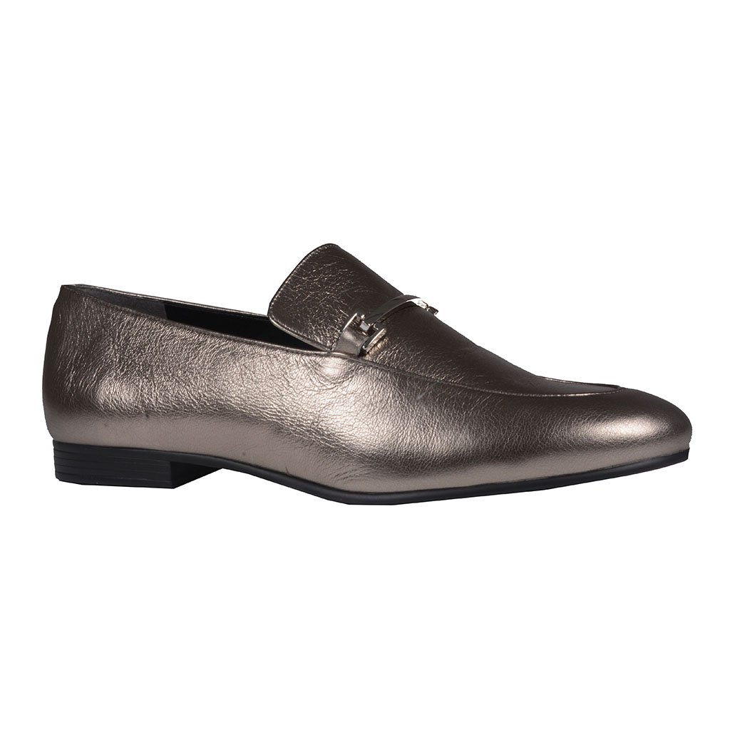 Loafer Couro Metalizado Pewter I20