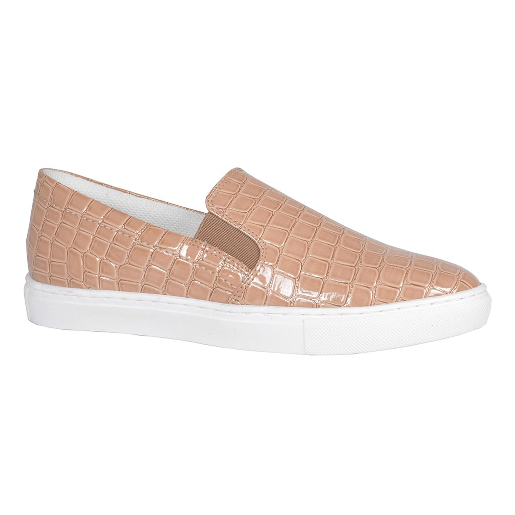 Tênis Slip On Croco Verniz Nude V20