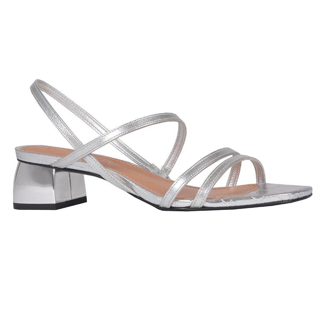 Sandália Tiras Metalizada Prata V20