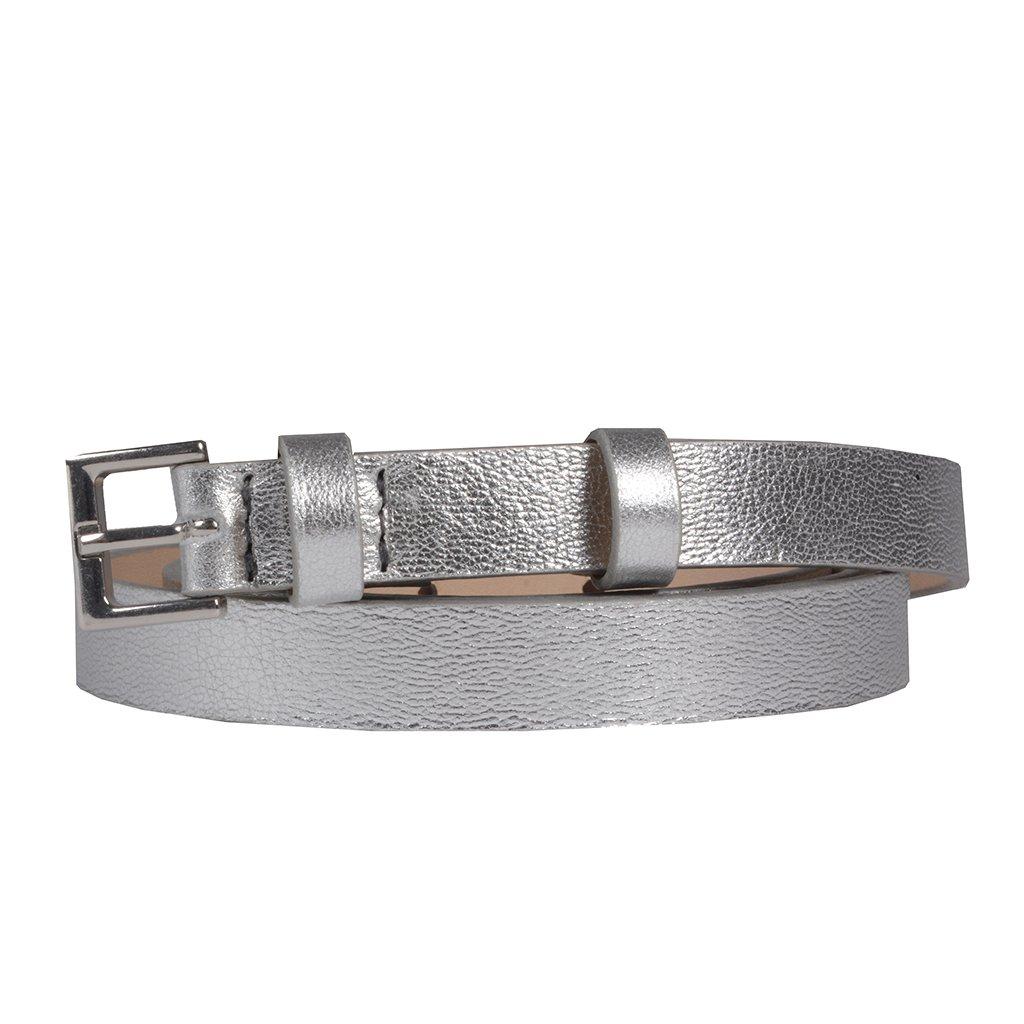 Cinto Couro Metalizado Prata V20