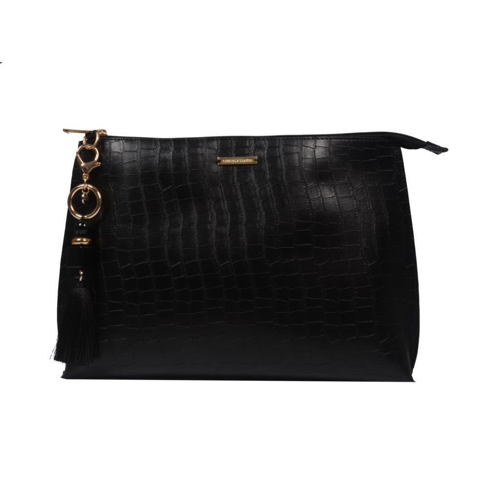 Clutch de Mão Preta com Bag Charm V21