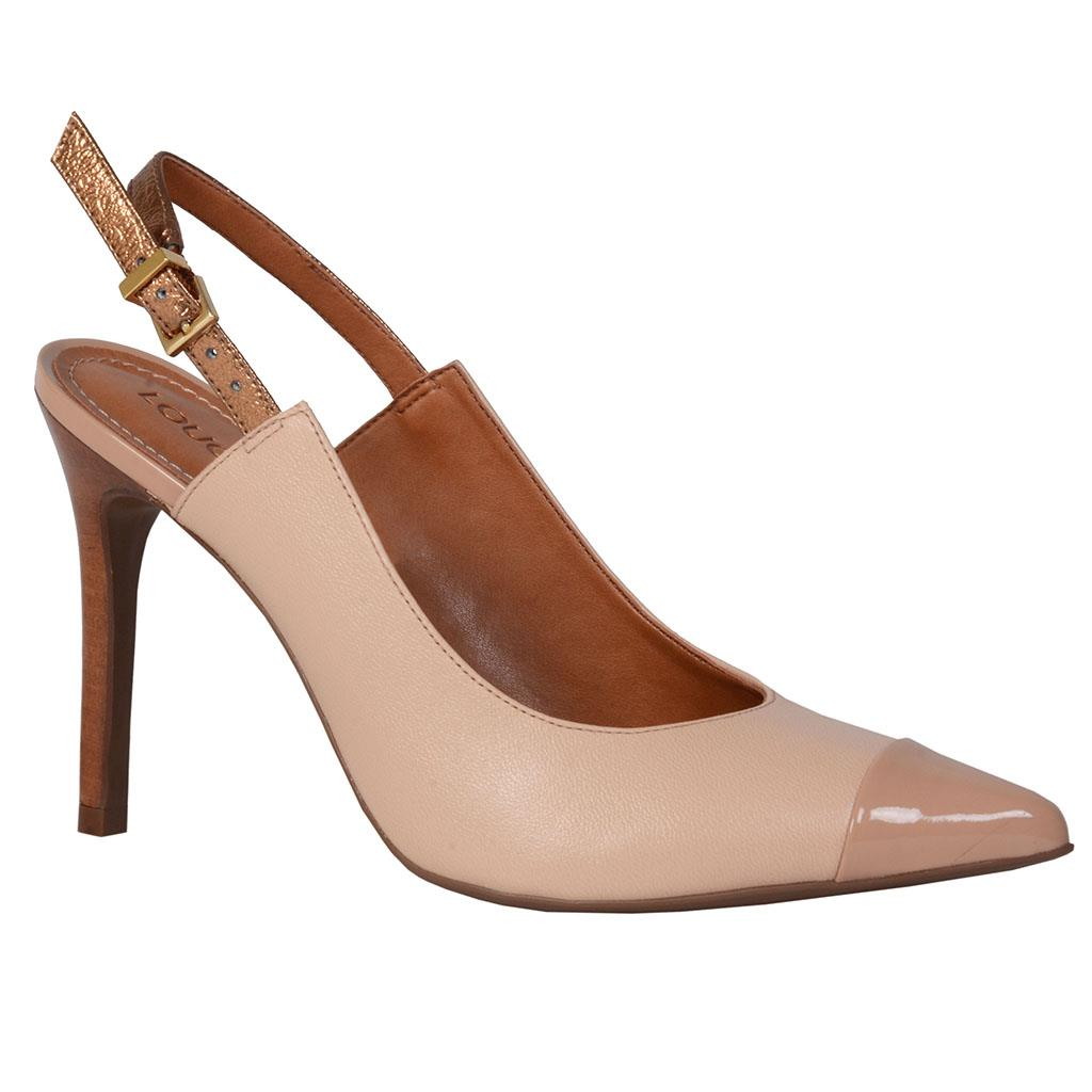 Slingback Couro Bege