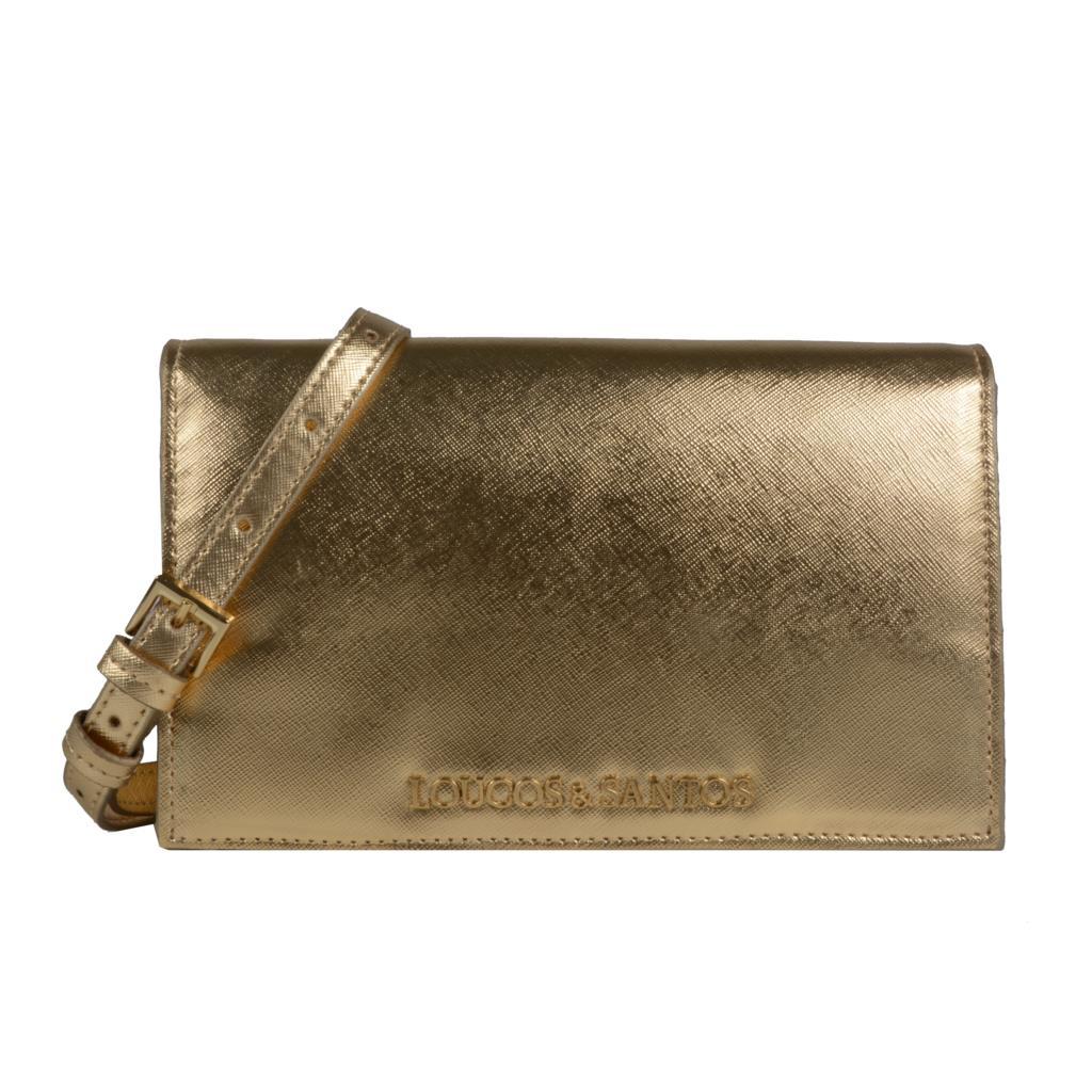 Clutch tiracolo metalizado ouro