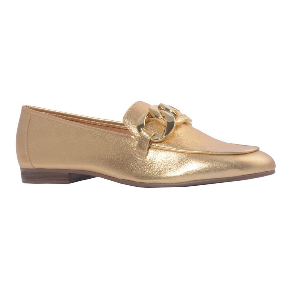 Loafer Couro Metalizado Ouro V21