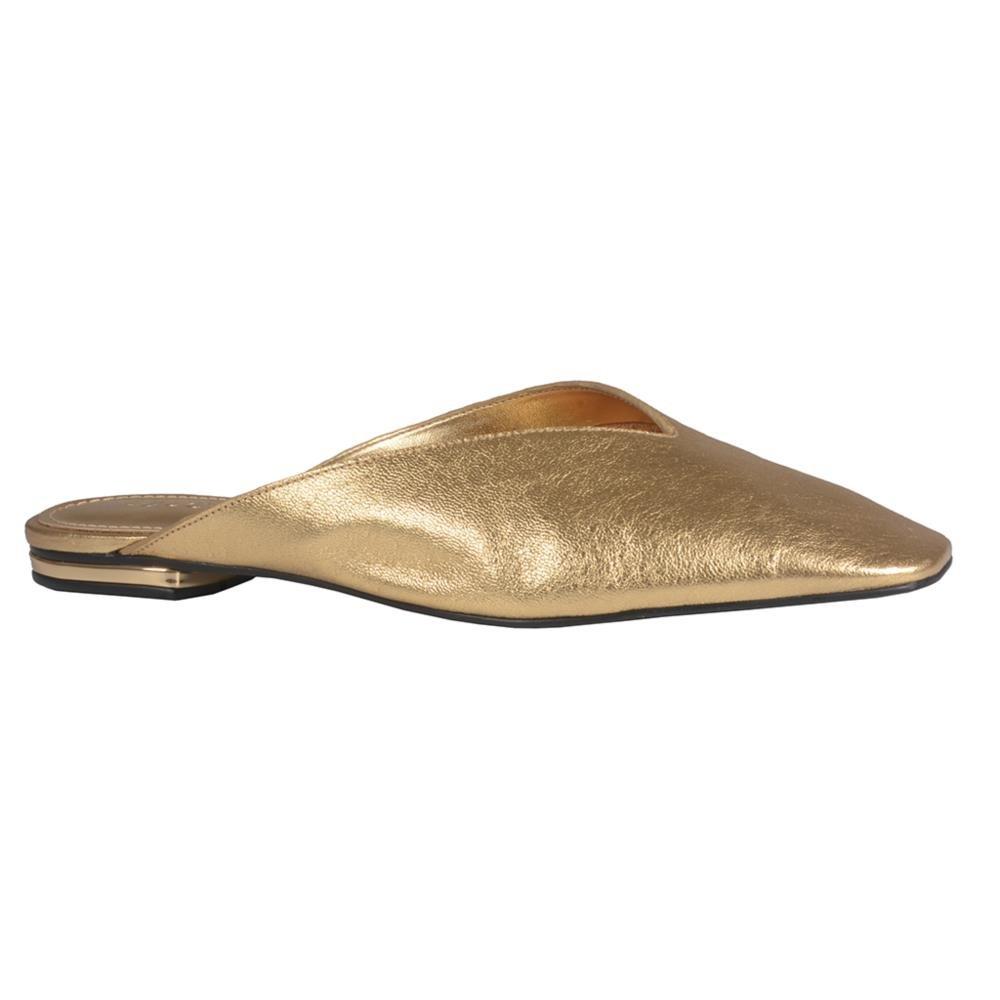 Mule Couro Metalizado Ouro V21