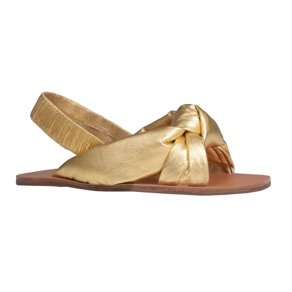 Sandália Rasteira Metalizado Dourado V21