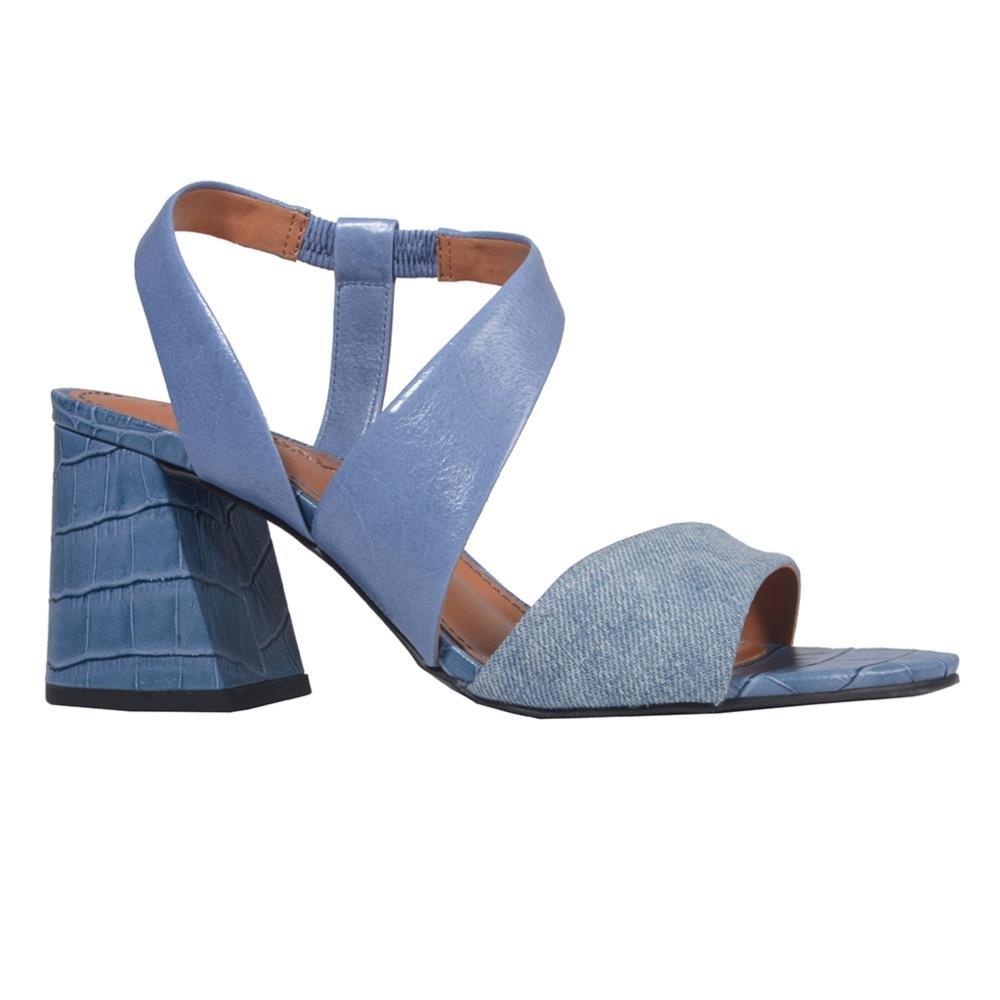 Sandália Couro Azul Jeans V21