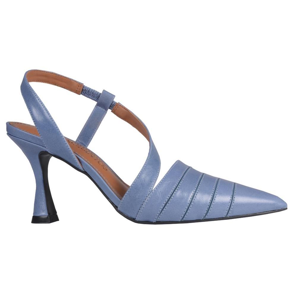 Slingback Azul Jeans com Salto Taça V21