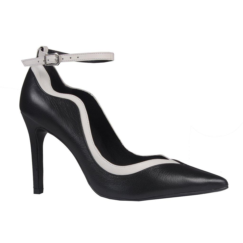 Scarpin Bicolor P&B com Ankle Strap