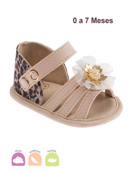 Sandalia Baby Fashion Bege e Oncinha