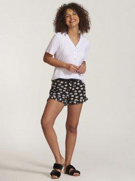 Pijama de amamentação com short estampado e blusa de botões