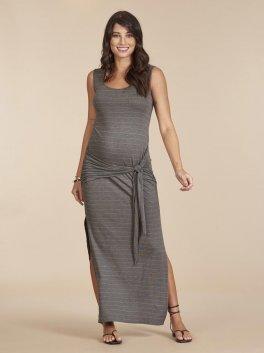 Vestido Milena com Amarração Delicate Stripe Mescla