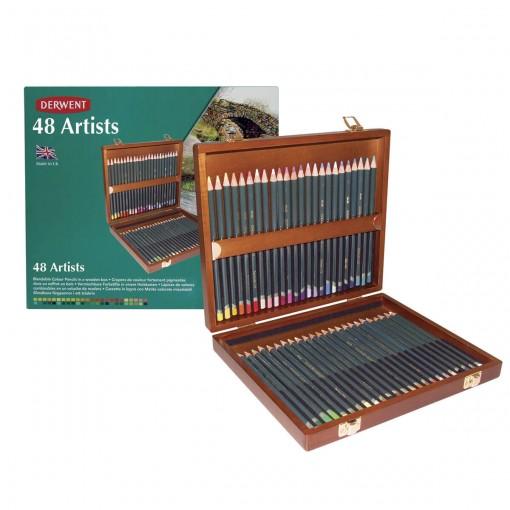 Lápis de Cor Permanente Artists 48 Cores Estojo Madeira Derwent