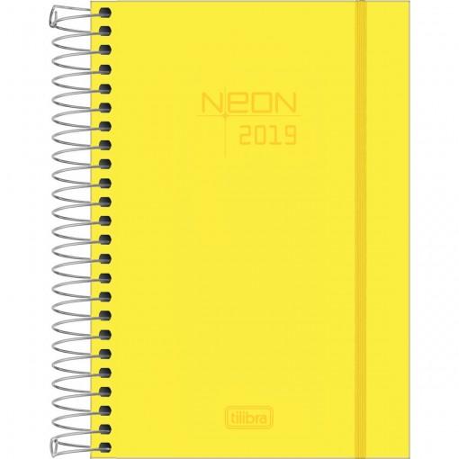 Agenda Espiral Diária Capa Plástica Neon Amarela 2019