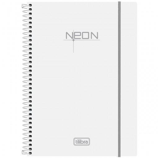 Caderno Espiral Capa Plástica Universitário 1 Matéria Neon Branco 96 Folhas