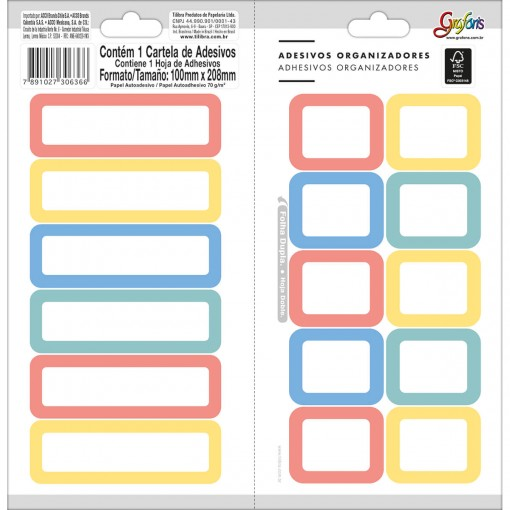 Adesivos Organizadores Retangulares Borda Colorida Grafons