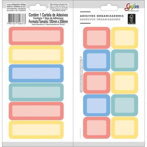 Adesivos Organizadores Retangulares Coloridos Grafons