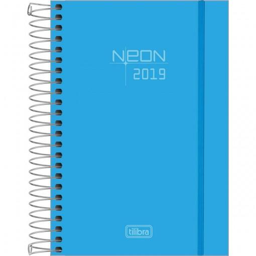 Agenda Espiral Diária Capa Plástica Neon Azul 2019