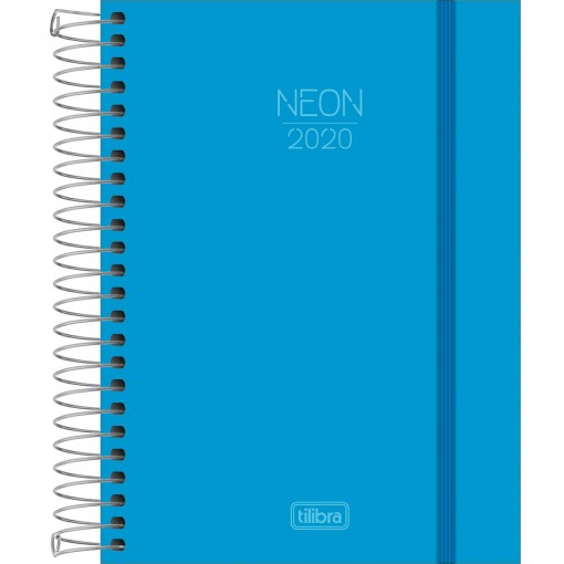 Agenda Espiral Diária Capa Plástica Neon Azul 2020