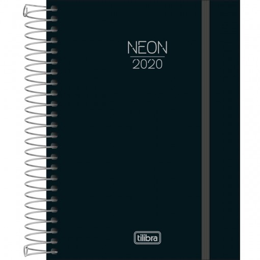 Agenda Espiral Diária Capa Plástica Neon Preta 2020