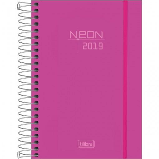 Agenda Espiral Diária Capa Plástica Neon Rosa 2019