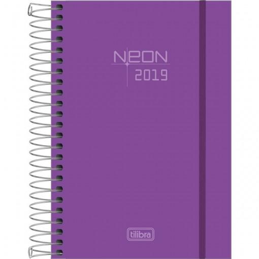 Agenda Espiral Diária  Capa Plástica Neon Roxo 2019