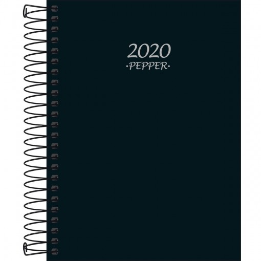 Agenda Espiral Diária Pepper Preta 2020