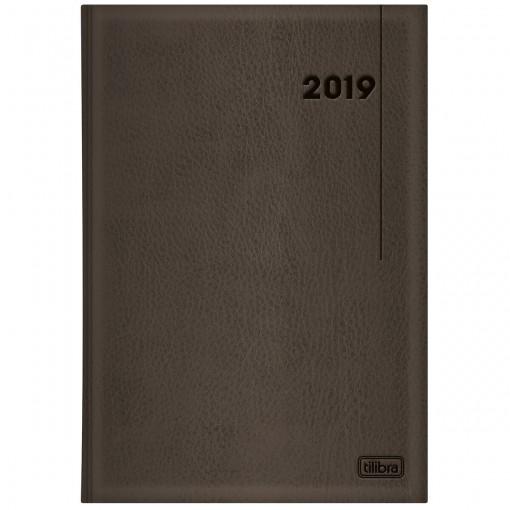 Agenda Executiva Costurada Diária de Mesa Marrom 2019