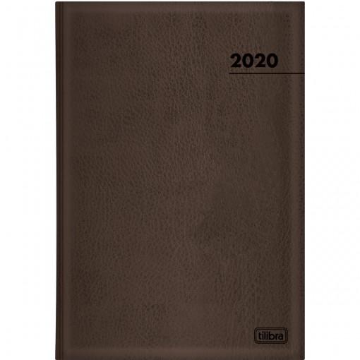 Agenda Executiva Costurada Diária de Mesa Marrom 2020