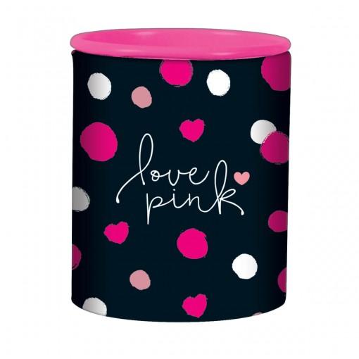Apontador 2 Furos com Depósito Love Pink