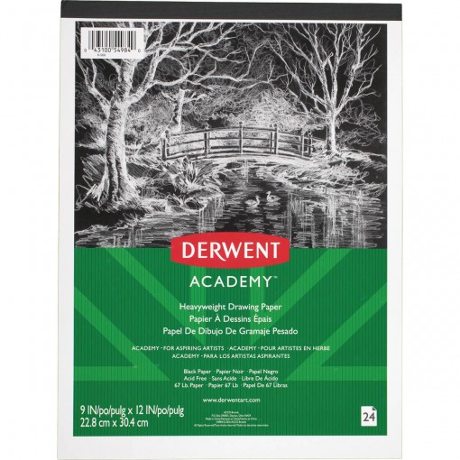 Bloco de Papel Preto Derwent Academy 110g/m² 22,9x30,5cm 24 folhas