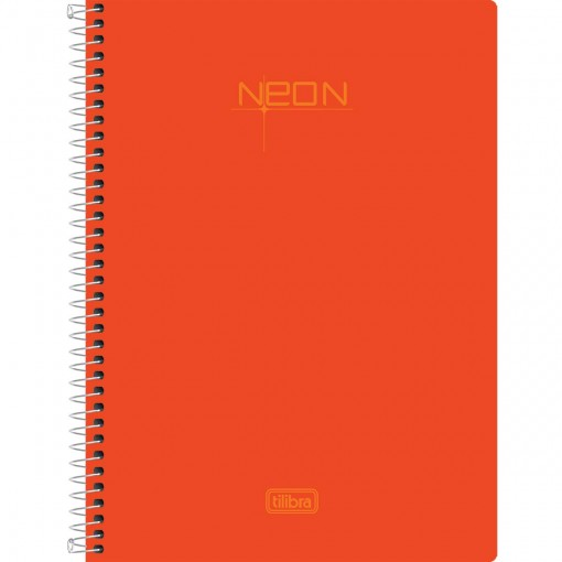 Caderneta Espiral Capa Plástica 1/8 Sem Pauta Neon Laranja 96 Folhas