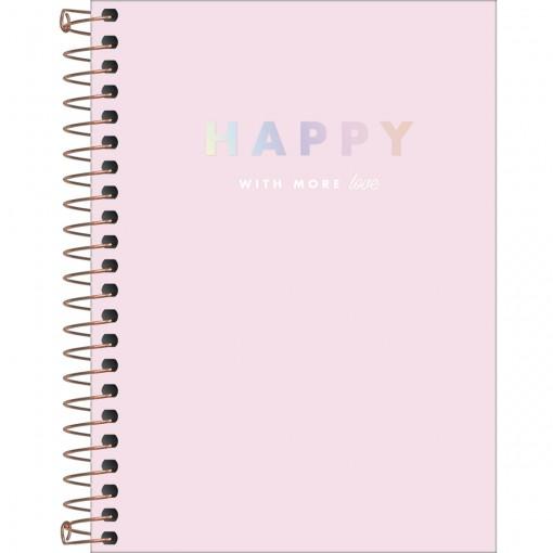 Caderneta Espiral Capa Dura 1/8 Happy 80 Folhas (Pacote com 4 unidades) - Sortido
