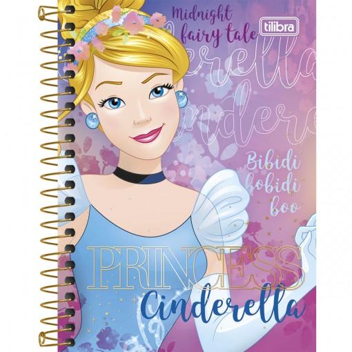 Caderneta Espiral Capa Dura 1/8 Princesas 96 Folhas (Pacote com 4 unidades) - Sortido