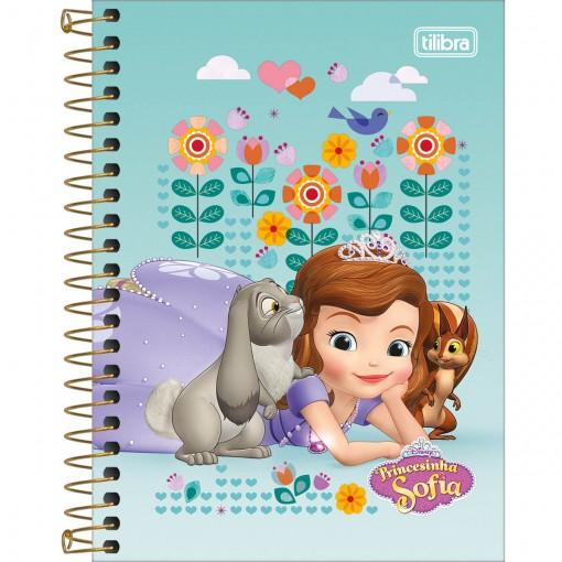 Caderneta Espiral Capa Dura 1/8 Princesinha Sofia 80 Folhas (Pacote com 4 unidades) - Sortido