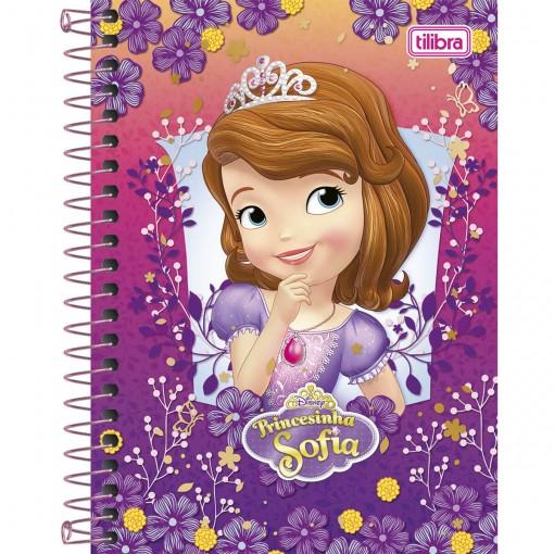 Caderneta Espiral Capa Dura 1/8  Princesinha Sofia 96 Folhas (Pacote com 4 unidades) - Sortido