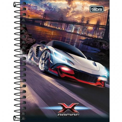 Caderneta Espiral Capa Dura 1/8 X-Racing 80 Folhas (Pacote com 4 unidades) - Sortido