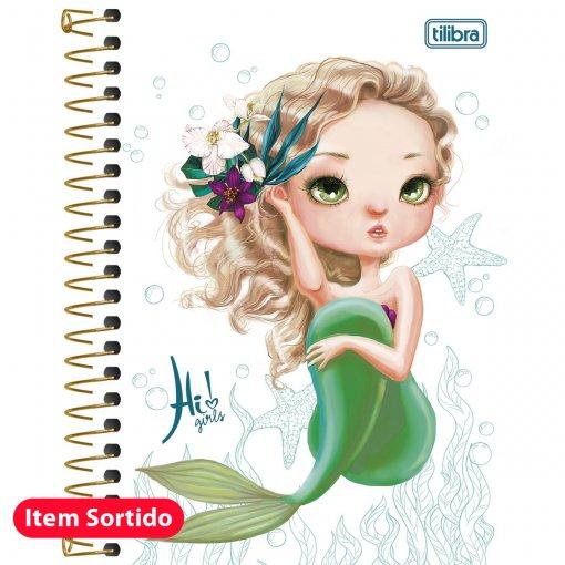 Caderneta Espiral Capa Dura 1/8 Hi! Girls 96 Folhas - Sortido