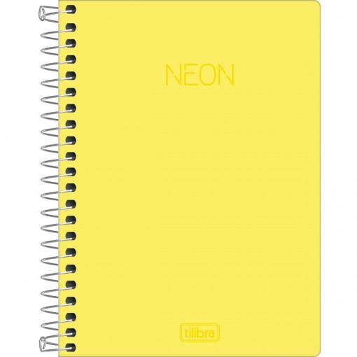 Caderneta Espiral Capa Plástica 1/8 sem Pauta Neon Amarelo 80 Folhas