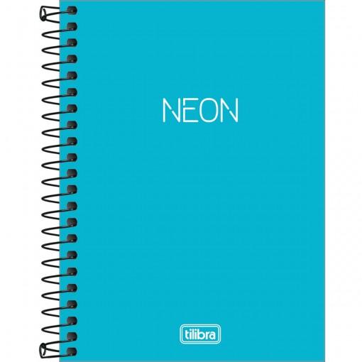 Caderneta Espiral Capa Plástica 1/8 sem Pauta Neon Azul 80 Folhas