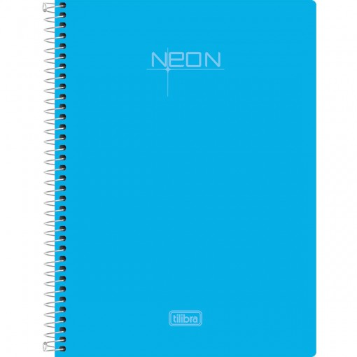 Caderneta Espiral Capa Plástica 1/8 Sem Pauta Neon Azul 96 Folhas