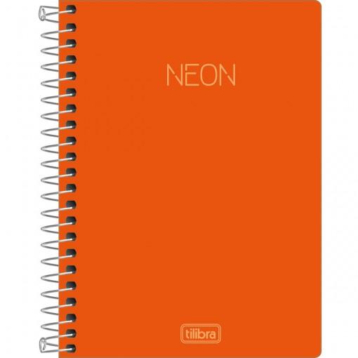 Caderneta Espiral Capa Plástica 1/8 sem Pauta Neon Laranja 80 Folhas