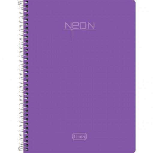 Caderneta Espiral Capa Plástica 1/8 Sem Pauta Neon Lilás 96 Folhas